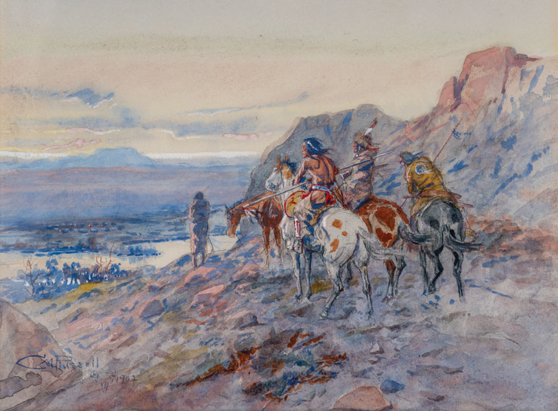 Charles M. Russell - Planning the Attack (The Wagon Train)